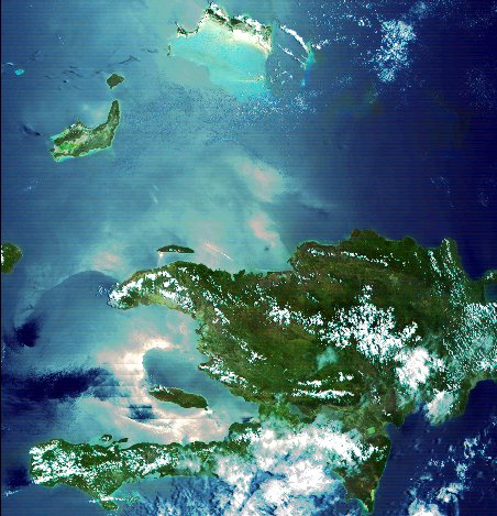 A satellite picture of Haiti
